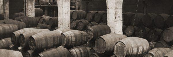 Barrels stacked in Krohn's cellar